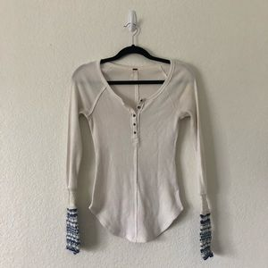 Free People Thermal Knit Cuff Long Sleeve Henley